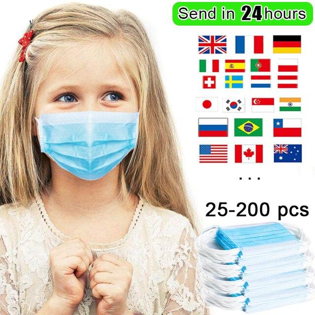 25/50/100/200pcs Kids Disposable Mask Face Masks For Children Baby Filter Anti Flu Air Pollution Mask