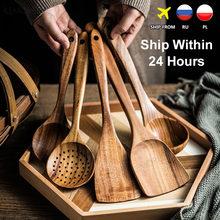 Thailand Teak Natural Wood Tableware Spoon Ladle Turner Long Rice Colander Soup Skimmer Cooking Spoons Scoop Kitchen Tool Set