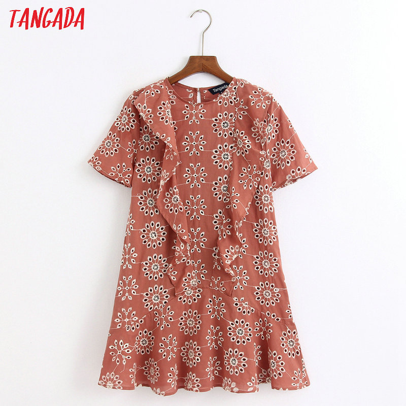 Tangada Fashion Women Flowers Embroidery Mini Dress Ruffles Short Sleeve Ladies Vintage Sundress Vestidos 6Z45