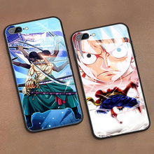 Cartoon One Piece Luffy Zoro Tempered Glass Phone Case For iPhone 11 Pro XSmax XR XS X 8 7 6s 6 Plus Luxury Cover Funda Coque
