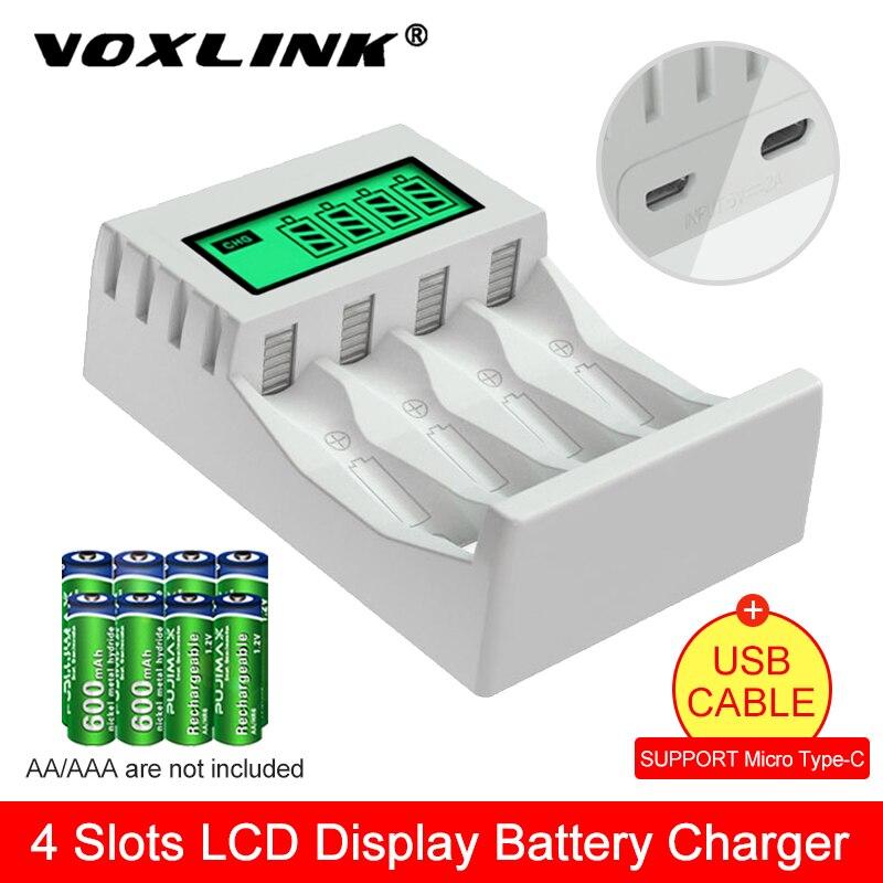 Chargeur Intelligent Intelligent de batterie daffichage à cristaux liquides de VOXLINK avec 4 fentes pour le chargeur AA/AAA