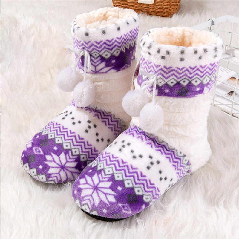 Noel Örme Çiçek Topu Kumaş Kadın Ev Botları Peluş Kapalı Kat Ayakkabı Kış ayak ısıtıcı Yumuşak Alt Çorap Çizmeler #4