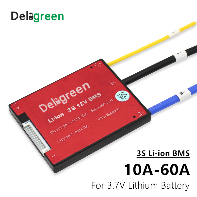 Deligreen 3S 10A 15A 20A 30A 40A 50A 60A 12V PCM/PCB/BMS for lithium battery pack 3.7V Rated 18650 Lithion Ion Battery Pack image