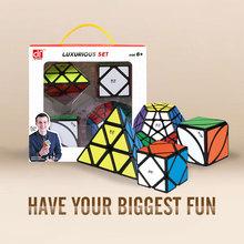 Mofangge 3*3*3 magiczne kostki prędkość Cube luksusowy zestaw kostki 4 sztuk 3*3 4*4 5*5 profesjonalne puzzle kostki zabawki edukacyjne dla dzieci tanie tanio Z tworzywa sztucznego Dziwne kształt magiczna kostka No Eating Puzzle cube 0932 Cube Sets 6 lat