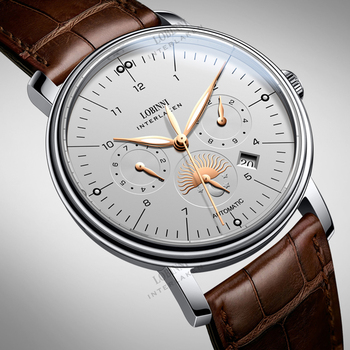 Luxury Brand Switzerland LOBINNI Men Watches Perpetual Calender Auto Mechanical Men's Clock Sapphire Leather relogio L15008-9 1