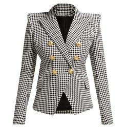 HIGH QUALITY Newest Runway Blazer Womens Long Sleeve Metal Lion Buttons Houndstooth Print Blazer Jacket Plaid Designer