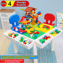 Multi-function Table for Building Blocks Childrens Puzzle Study Give 89 Granules 53 Slide