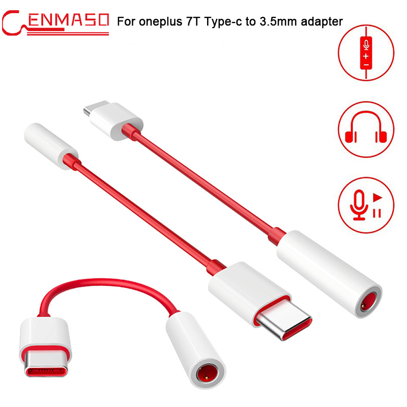 For Oneplus 7T Type-C To 3.5mm Earphone Cable Adapter For  Oneplus 6T 7 7T Pro Male To 3.5 AUX Audio Female Jack Converter Cable