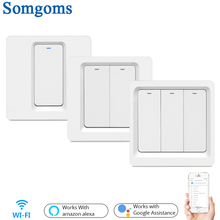Wifi Smart  Push Button Wall Light Switch No Neutral Wire and N+L Required ,Tuya APP Alexa Google Home Compatible
