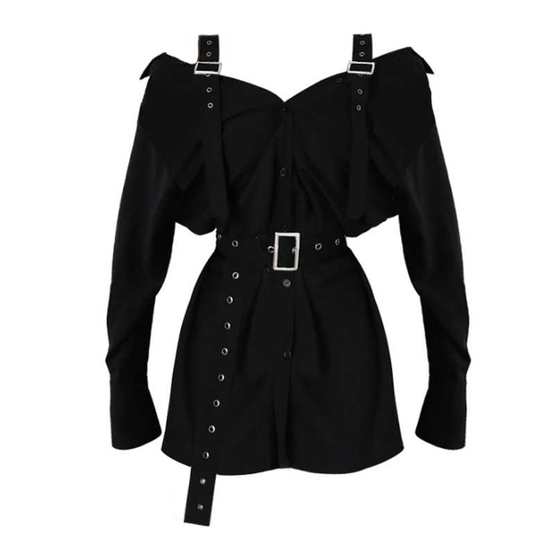 New Arrival Strapless Belt Long Sleeve Shirt Dress Women's Sexy Slash Neck Buckle Long Shirts