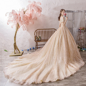 Image 4 - Vestido Cocktail Limited Vestido De Festa Sen Wedding Dress 2020 New Bride Luxury Dream Luxurious Super Big Tail Main Net Voice
