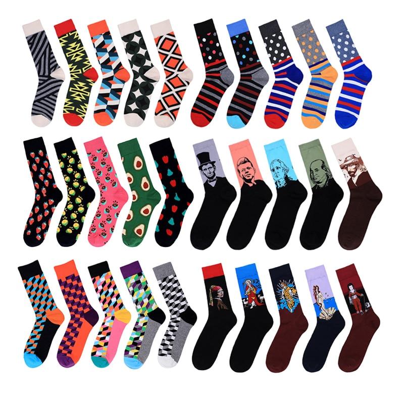 5 пар/компл. смешные мужские носки, художественные носки с масляной росписью, скейтборд, улица, хип-хоп носки, мужские носки в клетку авокадо ...