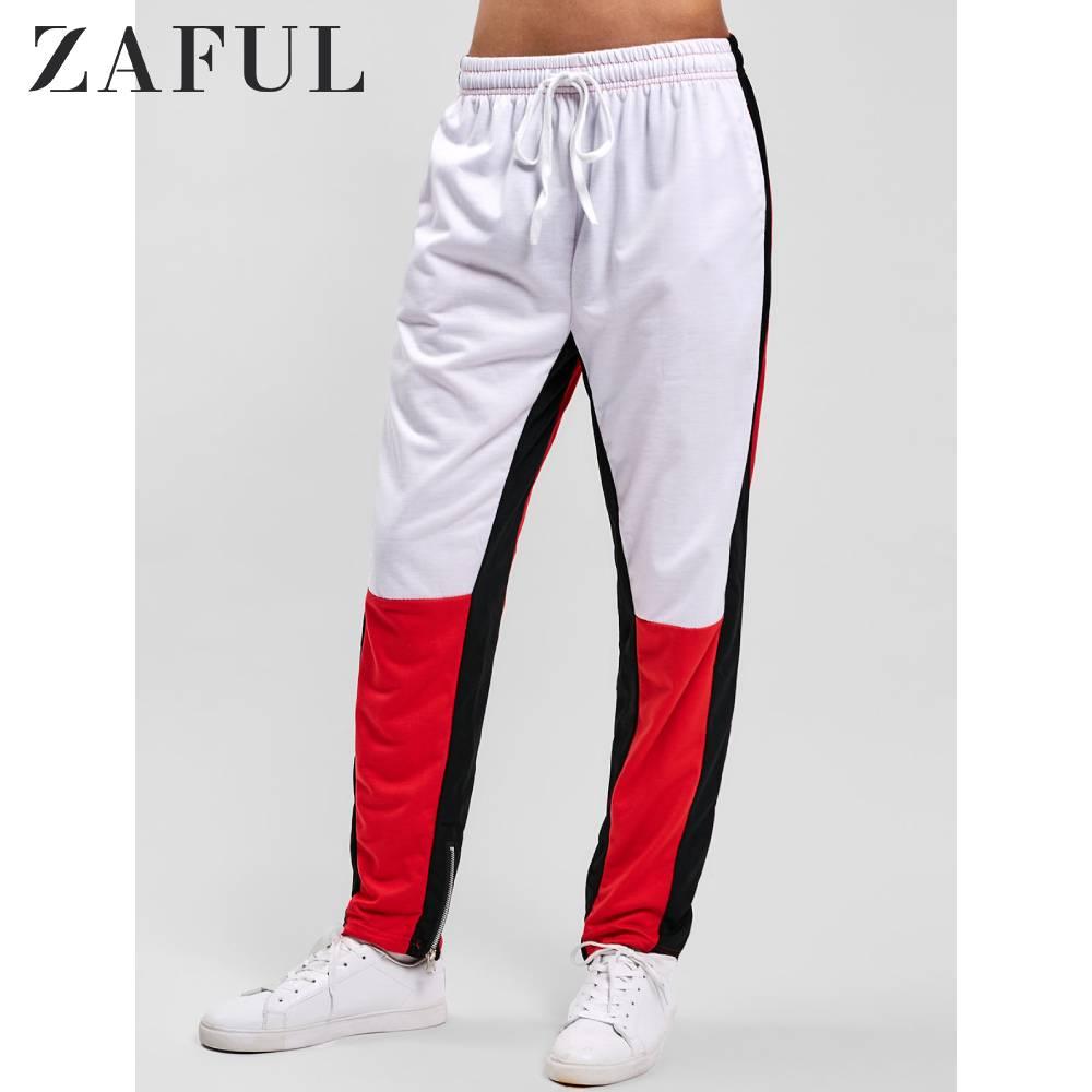 ZAFUL Hem Zipper Colorblock Track Pants Loose Long Jogger Pants Casual Drawstring Daily Autumn Outdoor Sports Wearing