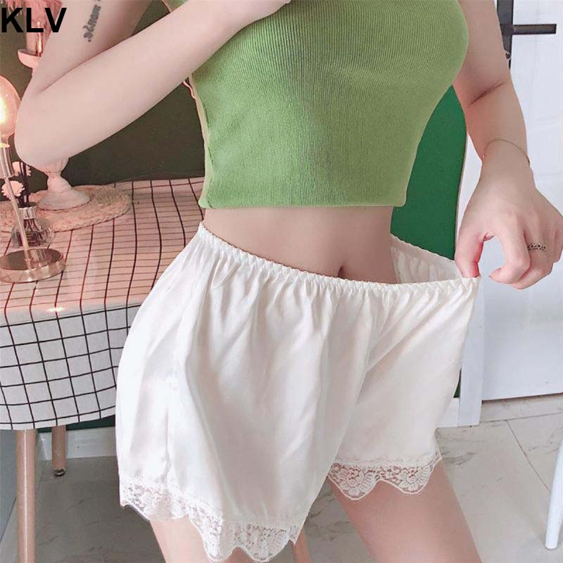 Women Imitation Silk Loose Safety Shorts Sleep Lounge Slip Bloomer Pants Floral Lace Trim Solid Color Pettipants Split Skirt