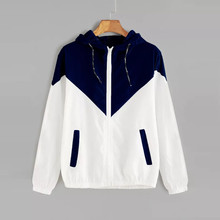 Harajuku Jacket Women Long Sleeve Patchwork Thin Skinsuits Hooded Zipper Pockets Sport Coat Outdoor Fitness Clothes
