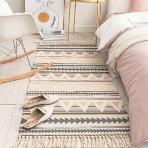 WHOVEYON Carpet Blanket Tapestry-Decorative Area-Rug Floor-Mat Tassel-Woven Linen Bedroom