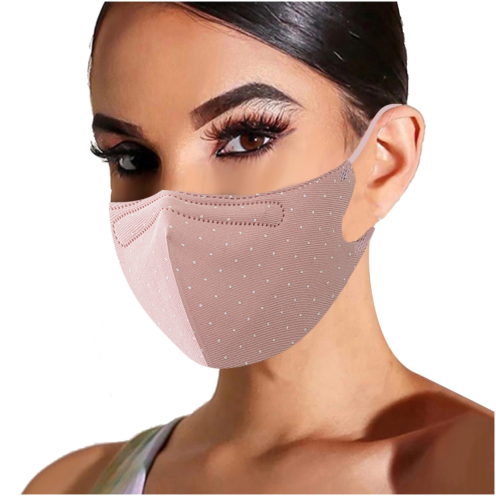 1PC Adult Woman Mouth Cover Solid color Polka Dot Print Adjustable Washable Safety Protect Haze Breathable Reusable Face Mask
