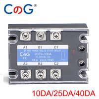 Cg 3 fase 10a 25a 40a da três fase ssr 3-32 v dc controle 24-480 v ac relé de estado sólido ssr ac três DC-AC
