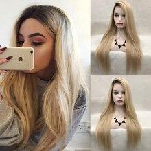 Charyzma Ombre blond peruka długie proste włosy syntetyczna koronka peruka front z czarnym korzenie przedziałek z boku koronkowa peruka na przód s dla kobiet