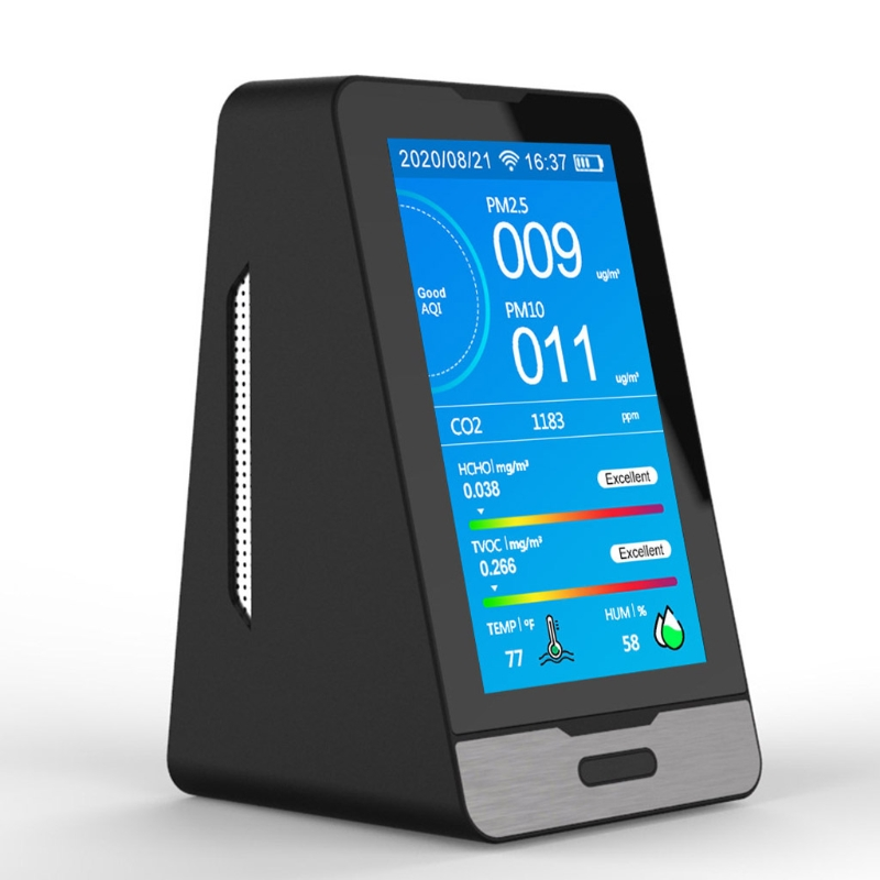 Wifi 4.3 Inch Led Display Intelligent Co2 Hcho Tovc Gas Detector Pm2.5 Pm1.0 Pm1 Handsome Appearance
