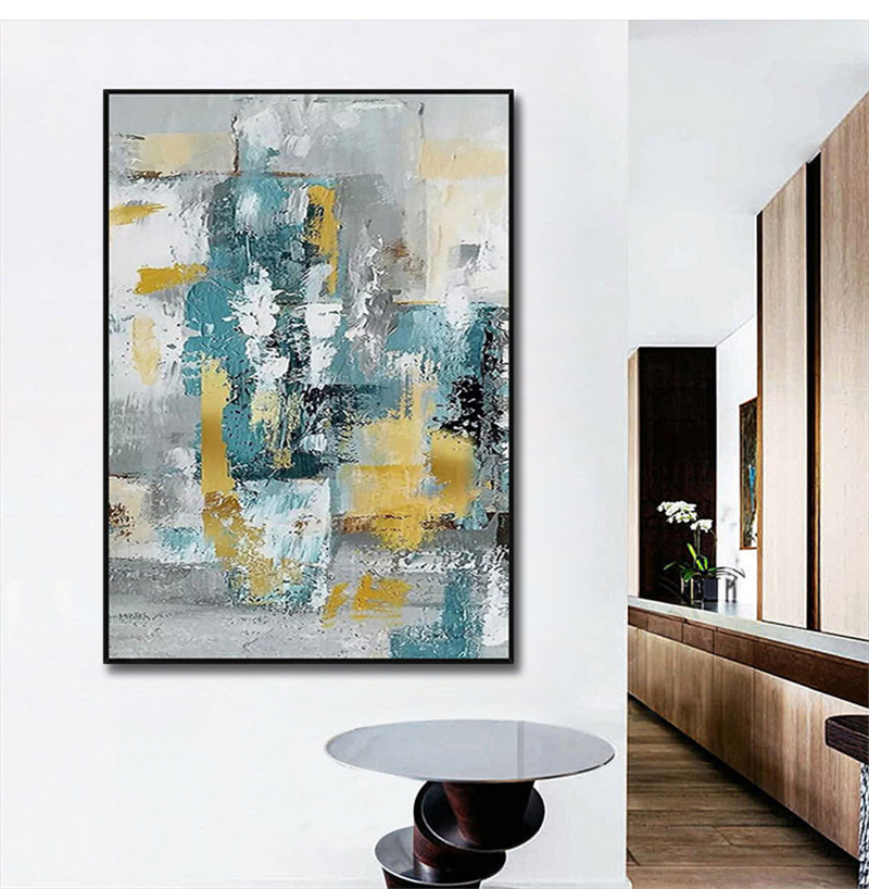 Design simples de alta qualidade pintados à mão moderna pintura a óleo cinza sobre tela arte moderna pintura a óleo para todos os tipos de decoração da parede - 2