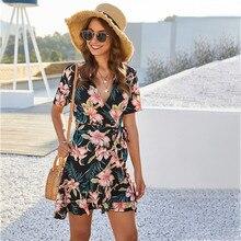 Women's Summer Flowers Print Mini Dress Sweet style bandage Boho Dresses Beach Short Dress Ladies Summer Casual Sundress Holiday