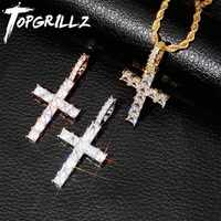 TOPGRILLZ Iced Zircon Baguette Cross Pendant With 4mm Tennis Chain Men's Hip hop Jewelry Gold Silver AAA CZ Pendant Necklace