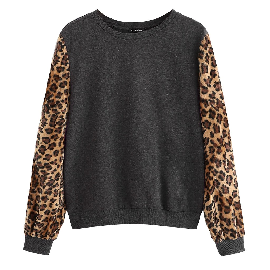 Women Contrast Leopard Sweatshirt Long Sleeve Casual Pullover Round Neck Preppy Jumper  Multicolor Sweatshirts #YJ