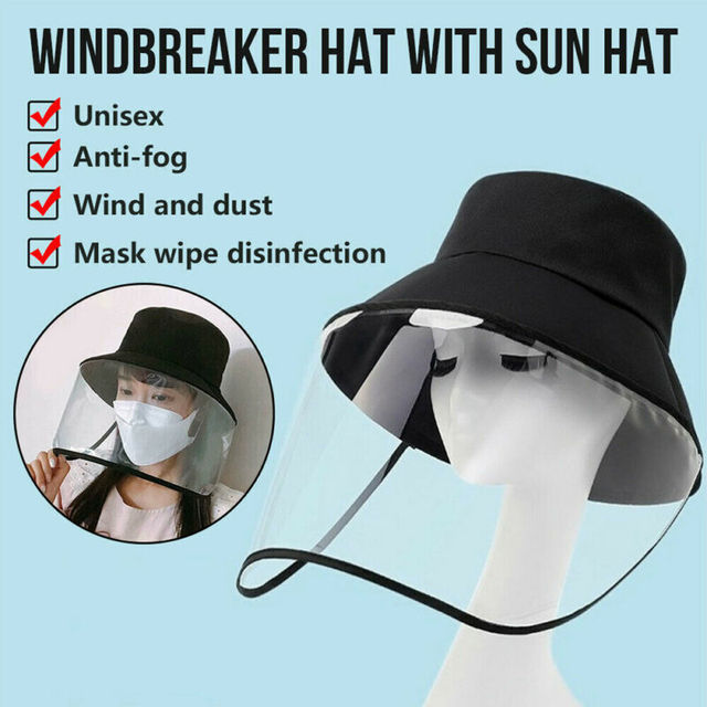 2020 New Unisex Women Men Fashion Outdoor Protection Hat Anti Saliva Hat Full Face Shield Bucket Hats with Clear Mask