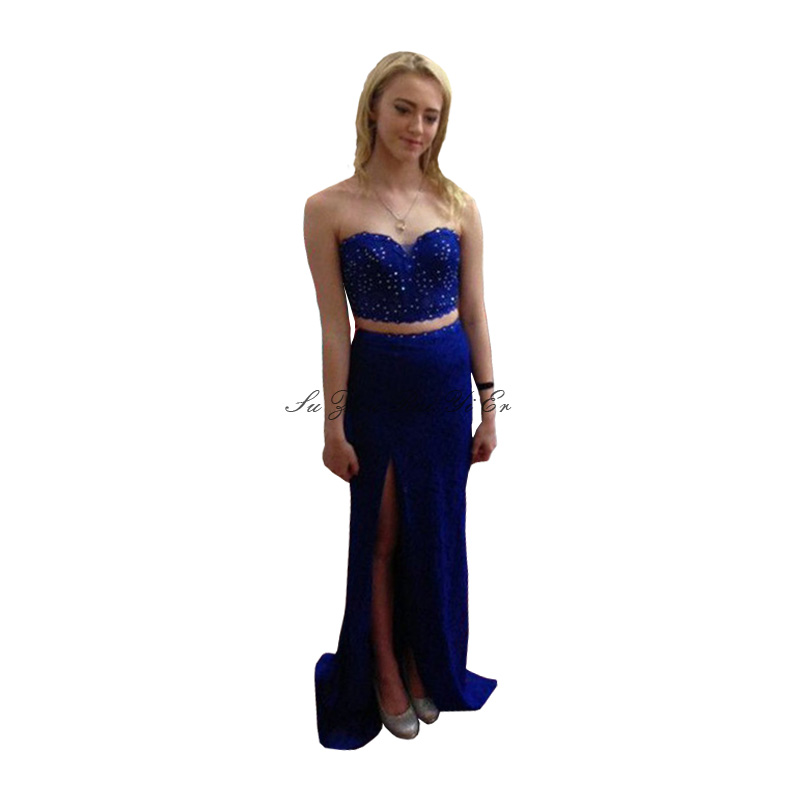 Sweetheart Two Piece Prom Dresses 2020 Blue Prom Gown With Rhinestone Side Slit Satin Long Dress For Party Robe De Soiree