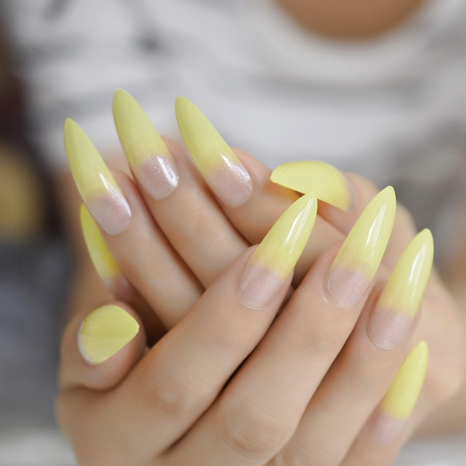 Ombre Neon Yellow Fake Nails Extra Long Stiletto Glossry Acrylic