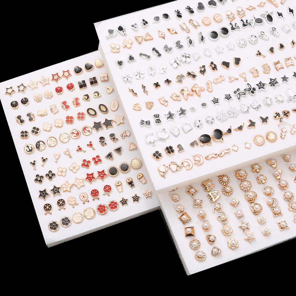100Pair/lot Multi-style Colorful Fruit Flower Geometric Crystal Stud Earrings Set For Women Girls Plastic Earrings Jewelry Gifts
