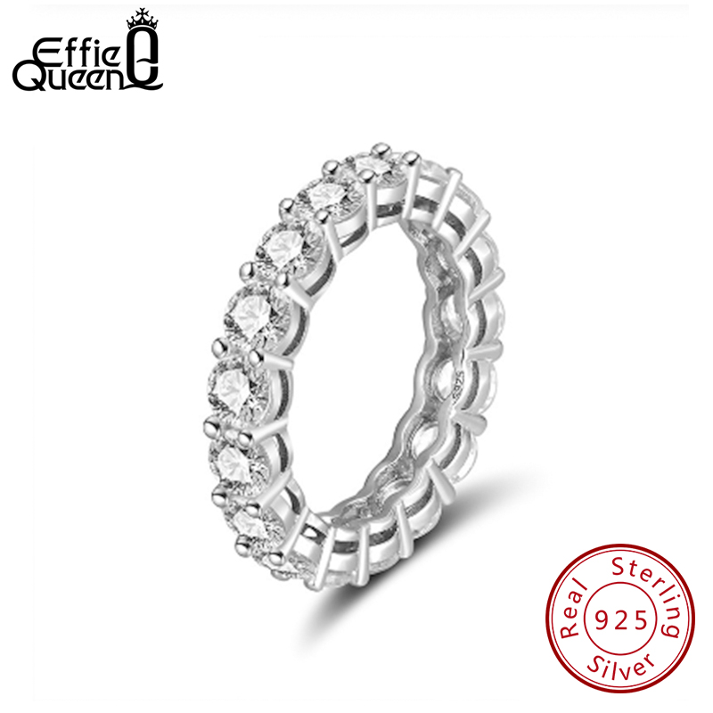Effie Queen Women's Sterling Silver Ring Female Couple Wedding Band Eternity Round Zircon 925 Silver Rings Jewelry DSR167