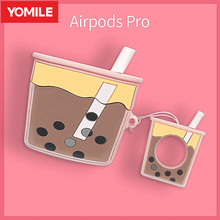 3D חמוד בועת חלב תה כוס אוזניות כיסוי עבור אפל AirPods 1 2 3 פרו סיליקון מקרה Airpods3 הגנת אוויר תרמילי אבזרים