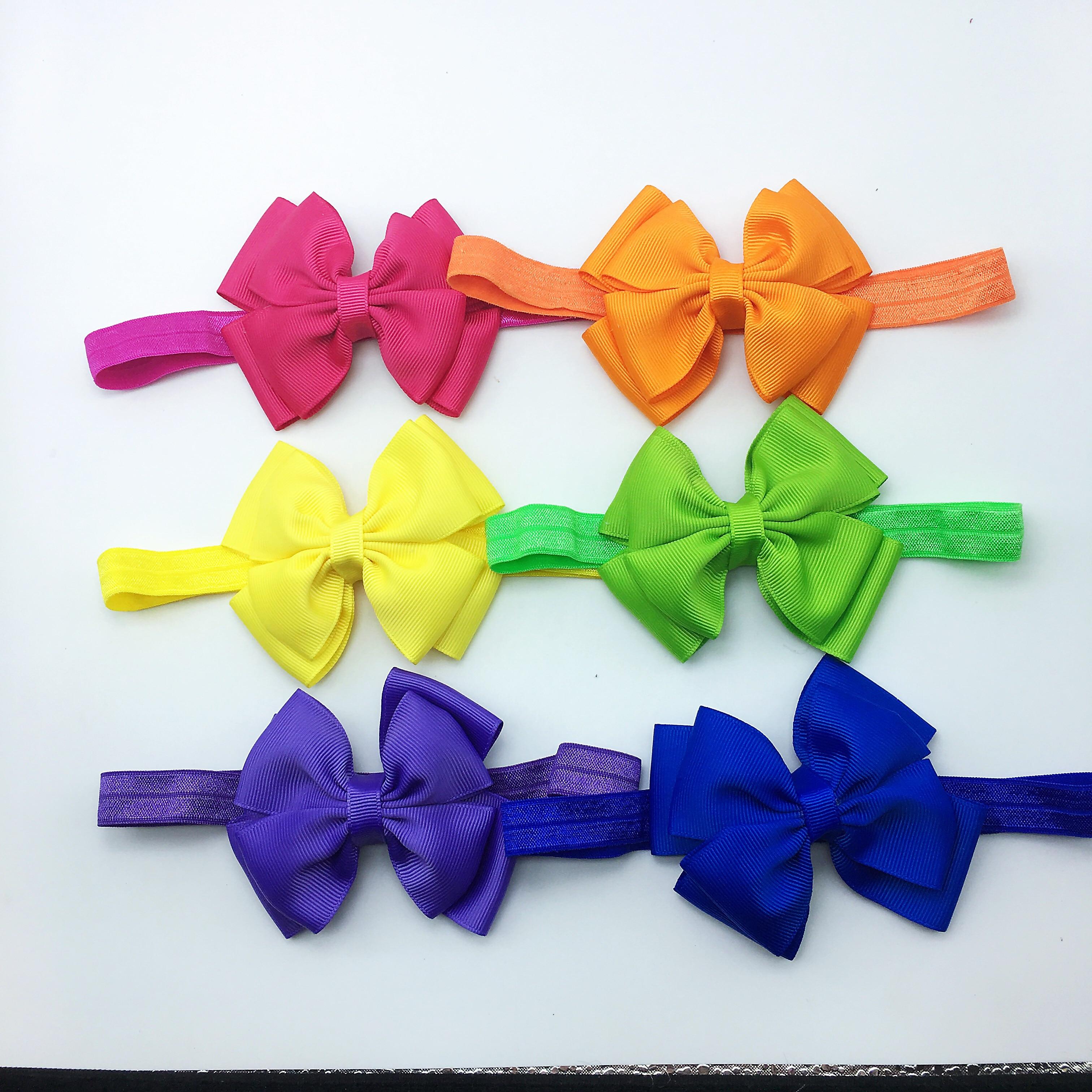 10 PCS Small Cute Bow Tie Headband Bow-knot Ribbon Elastic Hair Bands Accessories