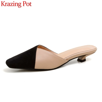 Krazing pot genuine leather square toe low heels slip on mules mixed colors sandals women handmade high quality shoes women L61