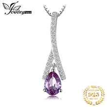 Created Alexandrite Sapphire Pendant Necklace 925 Sterling Silver Gemstones Choker Statement Necklace Women Without Chain jewelrypalace elegant 2 43ct created alexandrite sapphire cubic zirconia halo adjustable bracelets for women 925 sterling silver
