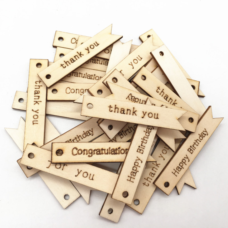 20PCS Carving Thank You / For You/ Congratulations/ Happy Birthday Wood Chips With Top Hole For Handmade Card Wood Tag DIY Craft