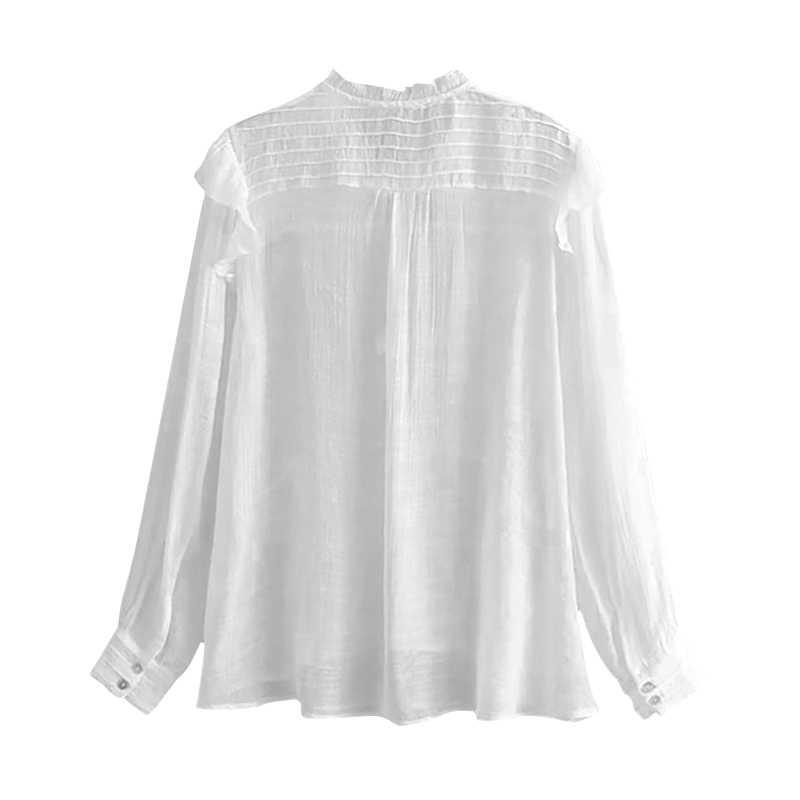 Blusa de lino sólido mujeres 2020 primavera otoño manga larga volantes camisas Irregular dobladillo blusa elegante señoras Blusas plisadas
