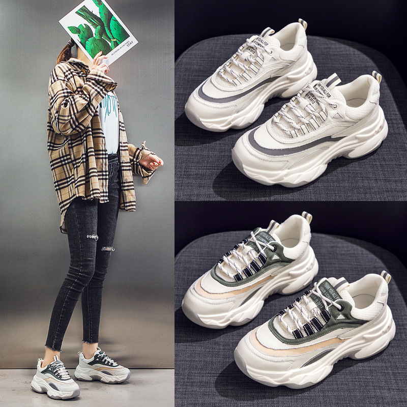 Torre Shoes Female Ins Chao Women's Shoes Season 2020 Net Shoes Are Versatile. Small White Breathable Net Face Sports Shoes