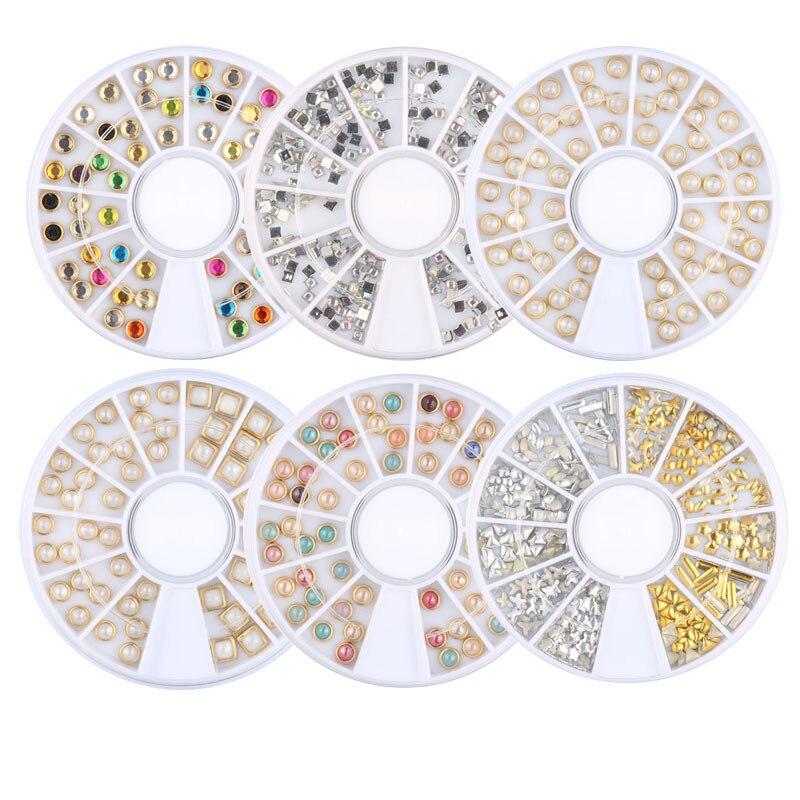 AB металлическое колесо с жемчужинами бусины для ногтей шпильки блестящие стразы бежевый украшения DIY 3D дизайн ногтей кристалл маникюрные