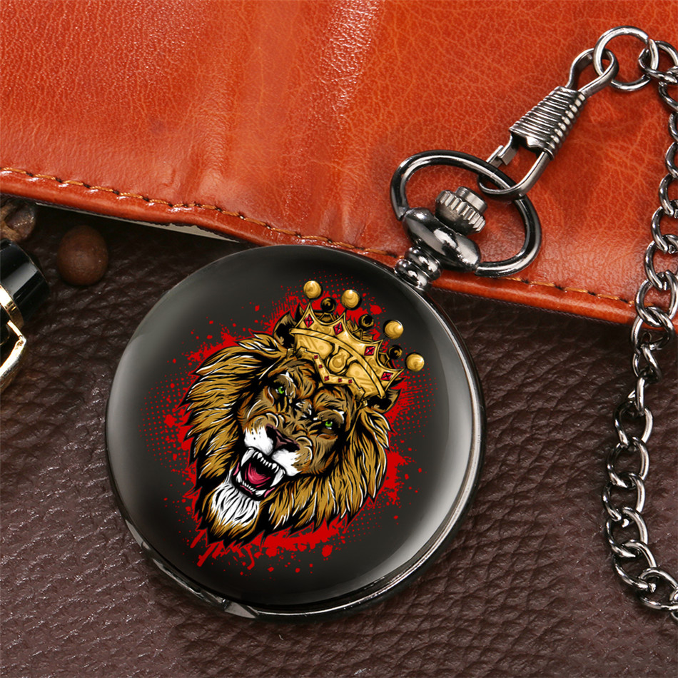 Crown Lion Design Punk Black Pocket Watch Quartz Movement  Fob Pendant Clock Antique Watch Gifts Men Women