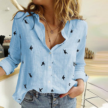 Spring Fashion – Women's Bird Print Shirts – 35% Cotton