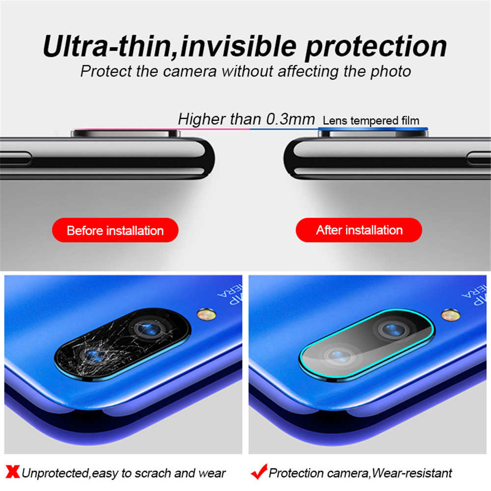 Vetro temperato e anello protettivo in metallo per Redmi Note 8 7 8T Pro pellicola protettiva di sicurezza per obiettivo della fotocamera per Xiaomi 9T 9 K20 vetro posteriore