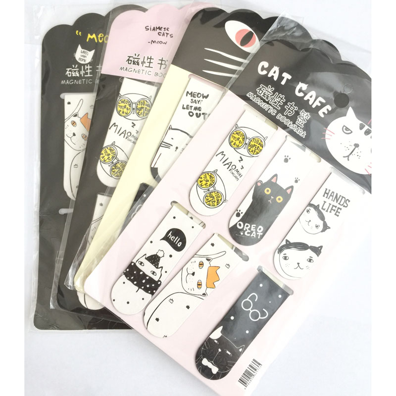 6pcs /Set Kawaii Cat Cactus Magnetic Bookmarks Books Marker Page Stationery School Office Supply Paper Clip