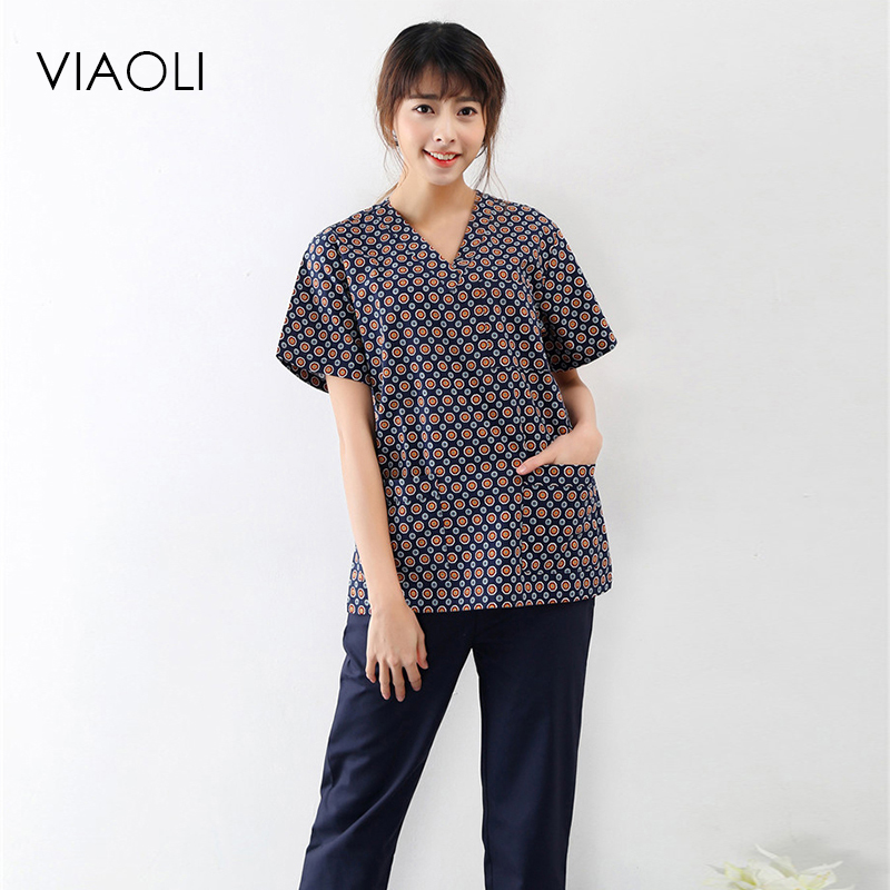 Viaoli 2018 New Summer Short-sleeved Surgical Clothing Men And Women Doctors Suits Split Brush Suit Coat+pants Set Blue Spots