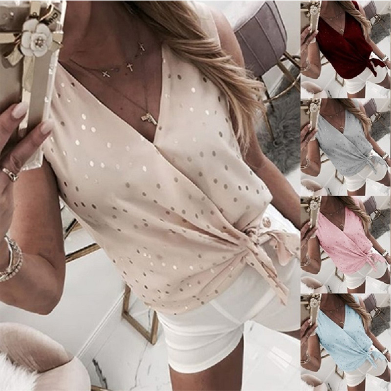 Sleeveless Lace Up Polka Dot Women's Blouse Oversized Summer V-neck Blouses Female 2020 New Fashion Casual Chic Womens Tops