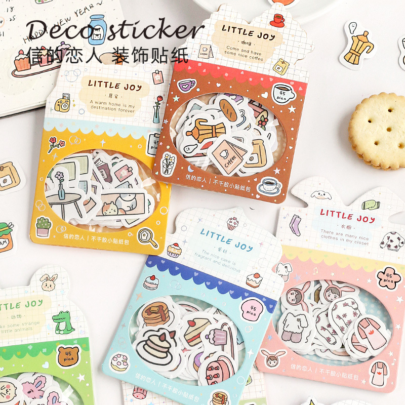 46pcs/pack Kawaii Planet Animal Adhesive Diy Sticker Stick Label Notebook Album Diary Decor Student Stationery Kids Gift