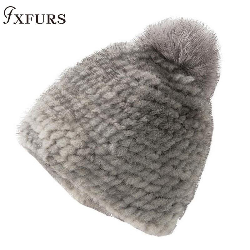 2019 New Knitted Mink Fur Hats Women Winter Real Fur Beanies Cap Fox Fur Balls Brand Thick Female Cap Elastic Soft HeadWear Fur
