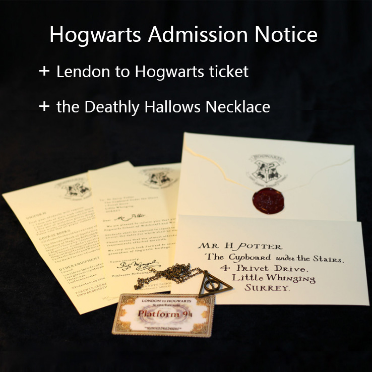 Hp Harri Admission Letter Of Hogwartss Sent Olws To Harri Pack With The Deathly Hallows Necklace And Train Ticket Toys For Child